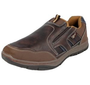 GoSafe Men's Faux Leather Brown Slip On Trainers