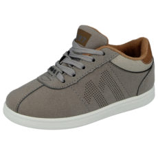 Buckle My Shoe Boys Low Top Touch & Close Lace Up Trainers - Grey