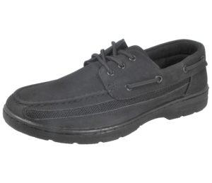 Cushion Walk Men's Faux Leather Lace Up Boat Shoes - Black