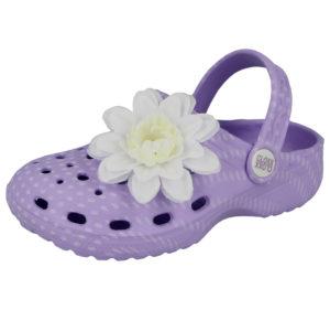 Cloxx Girls EVA Flower Slip On Clogs - LIlac