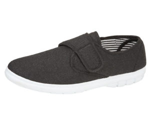 Shoe Tree Comfort Men's Breathable Canvas Touch & Close Trainers - Charcoal