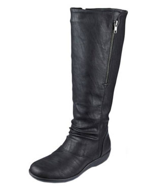 Cushion Walk Women's Black Faux Leather Knee High Boots