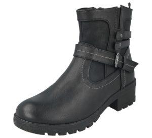 antonio womens buckle ankle boot black