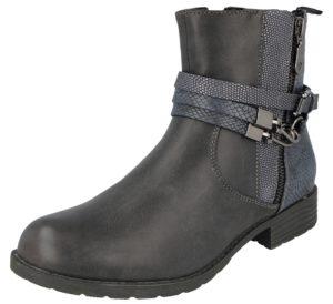 antonio womens grey leather biker boot
