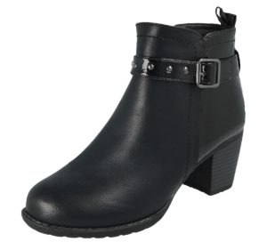 antonio womens black faux leather ankle boot