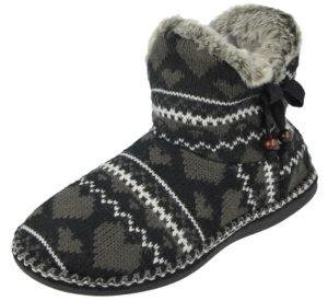 cara mia womens heart slipper boot black