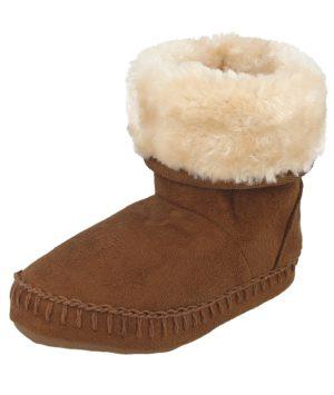 ella girls faux suede memory foam slipper boot chestnut