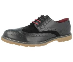 groundwork mens faux leather lace up brogue black