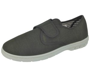 Dr Lightfoot Men's Breathable Canvas Touch & Close Trainers - Charcoal
