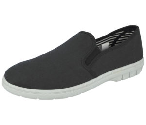 Dr Lightfoot Men's Breathable Canvas Slip On Trainers - Charcoal
