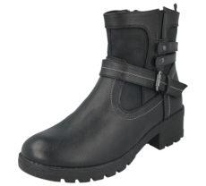 Antonio Dolfi Women's Black Faux Leather Buckle Ankle Boots