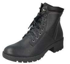 Antonio Dolfi Women's Black Faux Leather Lace Up Combat Boots