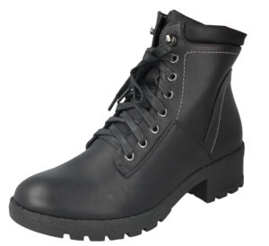 Antonio Dolfi Women's Black Faux Leather Lace Up Combat Boots