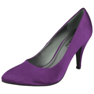 Coconel Women's Satin Pointed Toe Slip On High Heels - Purple