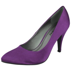Coconel Women's Satin Pointed Toe Slip On High Heels - Purple