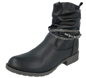 Antonio Dolfi Women's Black Faux Leather Biker Boots