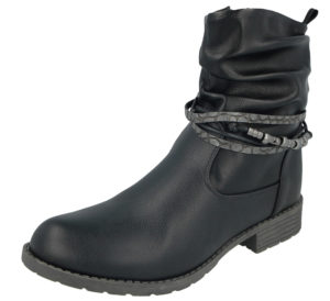 Antonio Dolfi Women's Black Faux Leather Biker Boots