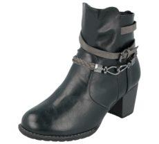 Antonio Dolfi Women's Black Faux Leather Strap Biker Boots