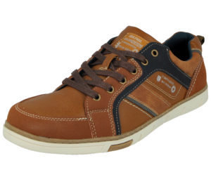 Stallion Men's Cognac Faux Leather Lace Up Trainers