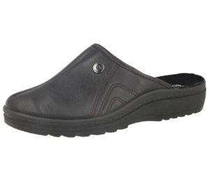 Cadans Men's Faux Leather Slip On Mule Slippers - Dark Brown