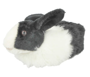 Yinka Shoes Girls Faux Fur Rabbit Novelty Slippers - Black
