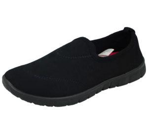 Chix Women's Breathable Canvas Memory Foam Slip On Shoes - Black