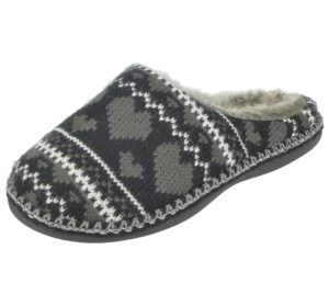 Cara Mia Women's Cable Knit Heart Mule Slippers - Black