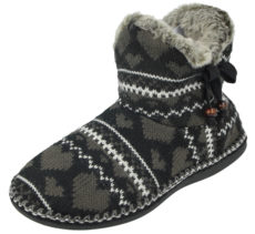 Cara Mia Women's Cable Knit Heart Slipper Boots - Black/Grey