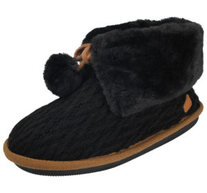 Cara Mia Women's Black Cable Knit Fur Trim Slipper Boots