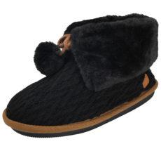 Cara Mia Women's Black Cable Knit Fur Trim Slipper Boots