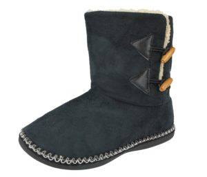 Cara Mia Women's Faux Suede Toggle Slipper Boots - Black