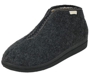 Cara Mia Women's Grey Wool Zip Up Slipper Boots