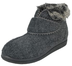 Cara Mia Women's Faux Sheepskin Touch & Close Slipper Boots