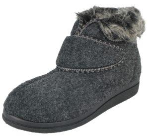Cara Mia Women's Faux Sheepskin Touch & Close Slipper Boots