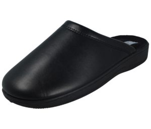 Cadans Men's Black Faux Leather Mule Slippers