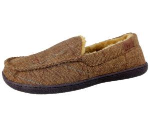 Jo & Joe Men's Tweed Faux Fur Lined Moccasin Slippers - Brown