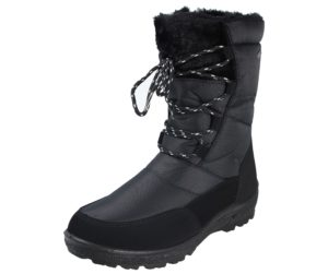 Embrace Women's Quilted Faux Leather Water Resistant Snow Boots - Black