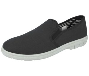 dr lightfoot mens breathable canvas slip on trainer charcoal