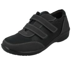 Antonio Dolfi Women's Black Faux Leather Double Strap Trainers