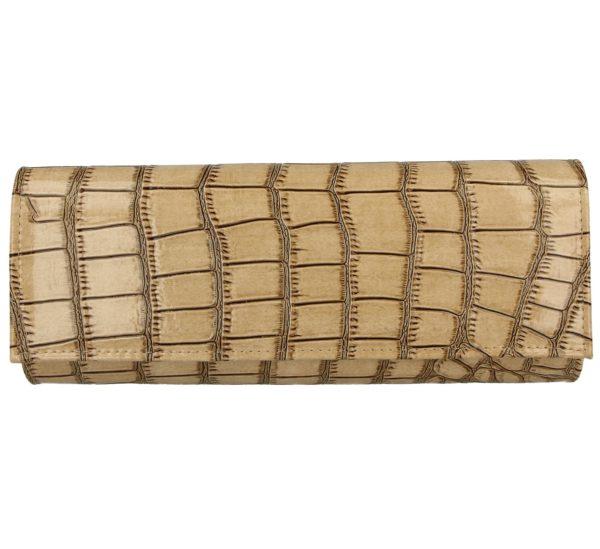 Comfort Plus Women's Faux Crocodile Print Clutch Bag - Nude