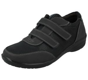 antonio-womens-black faux leather double strap trainer