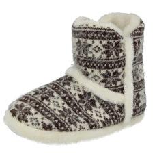 Cara Mia Women's Knitted Fair Isle Slipper Boots - Off White/Dark Brown