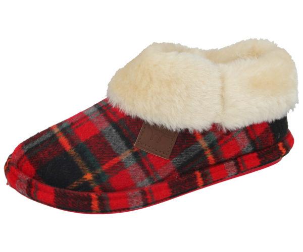 Jo & Joe Women's Tartan Pull On Slipper Boots - Highlander Red