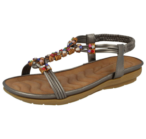 Cushion Walk Women's Faux Leather T Bar Sandals - Pewter