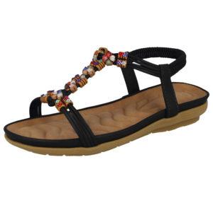 Cushion Walk Women's Faux Leather T Bar Sandals - Black