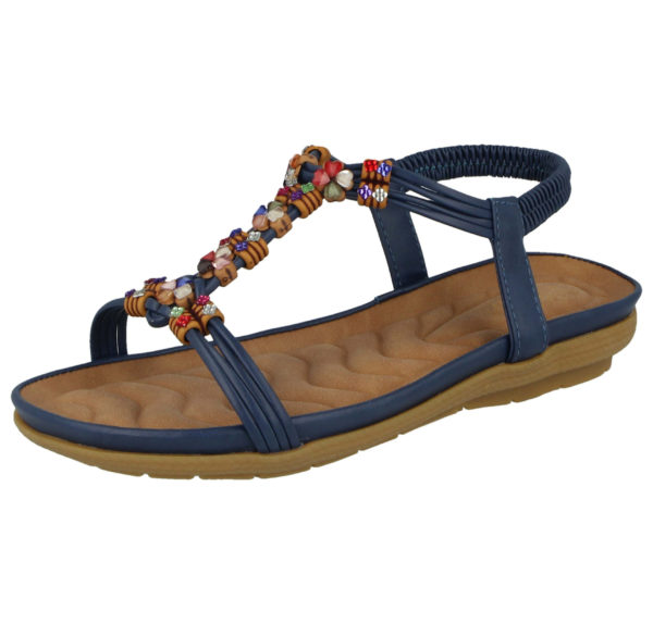 Cushion Walk Women's Faux Leather T Bar Sandals - Navy