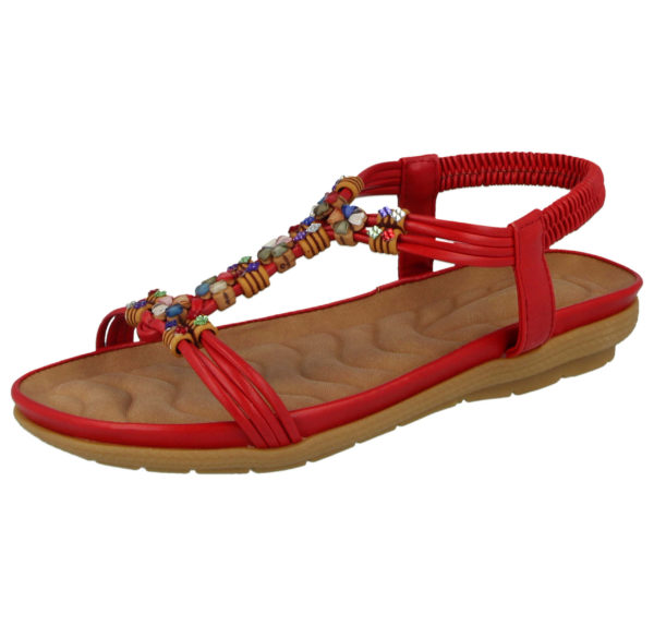 Cushion Walk Women's Faux Leather T Bar Sandals - Red