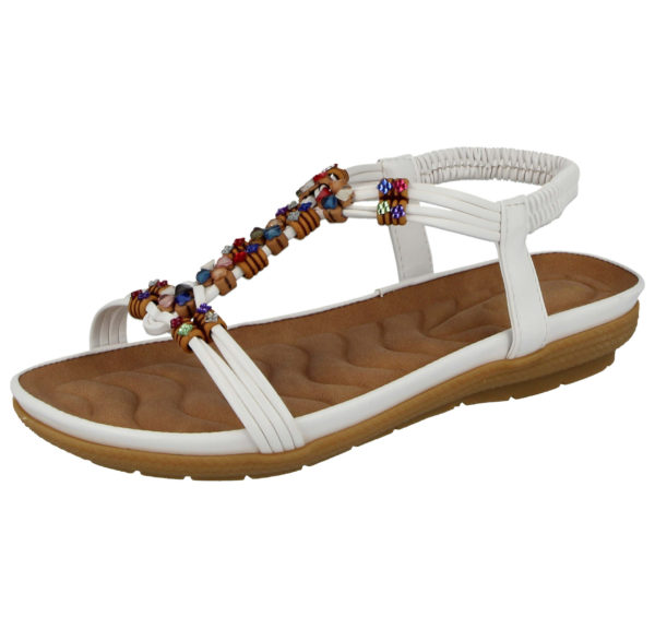 Cushion Walk Women's Faux Leather T Bar Sandals - White
