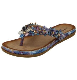 Cushion Walk Women's Floral Print Toe Post Sandals - Blue
