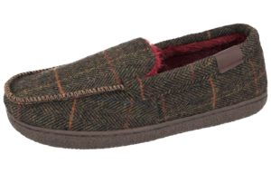 trevor mens tweed moccasin slipper